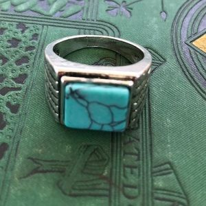 MENS SILVER TURQUOISE RING SIZE 10